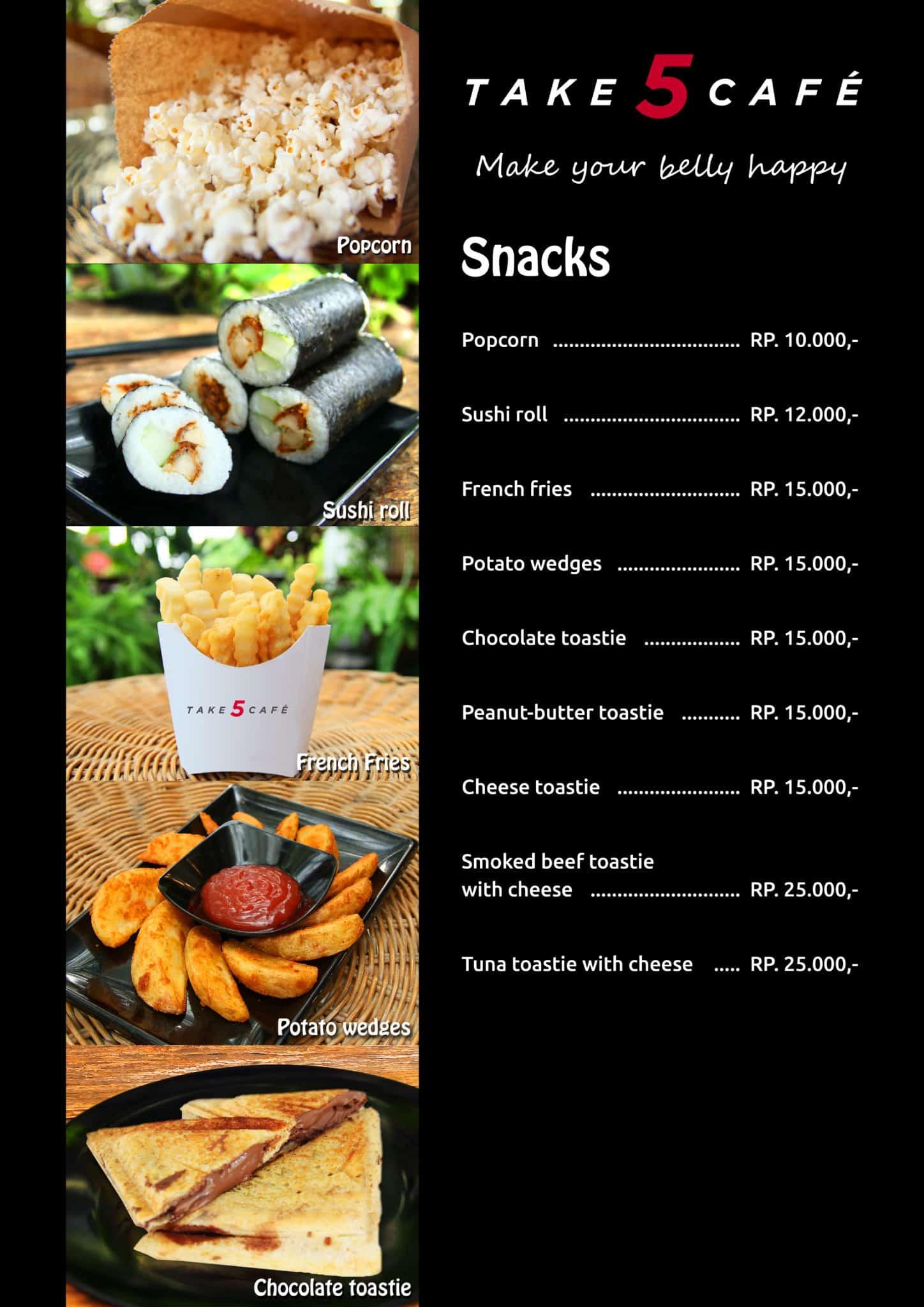 Take 5 Cafe Snacks Menu