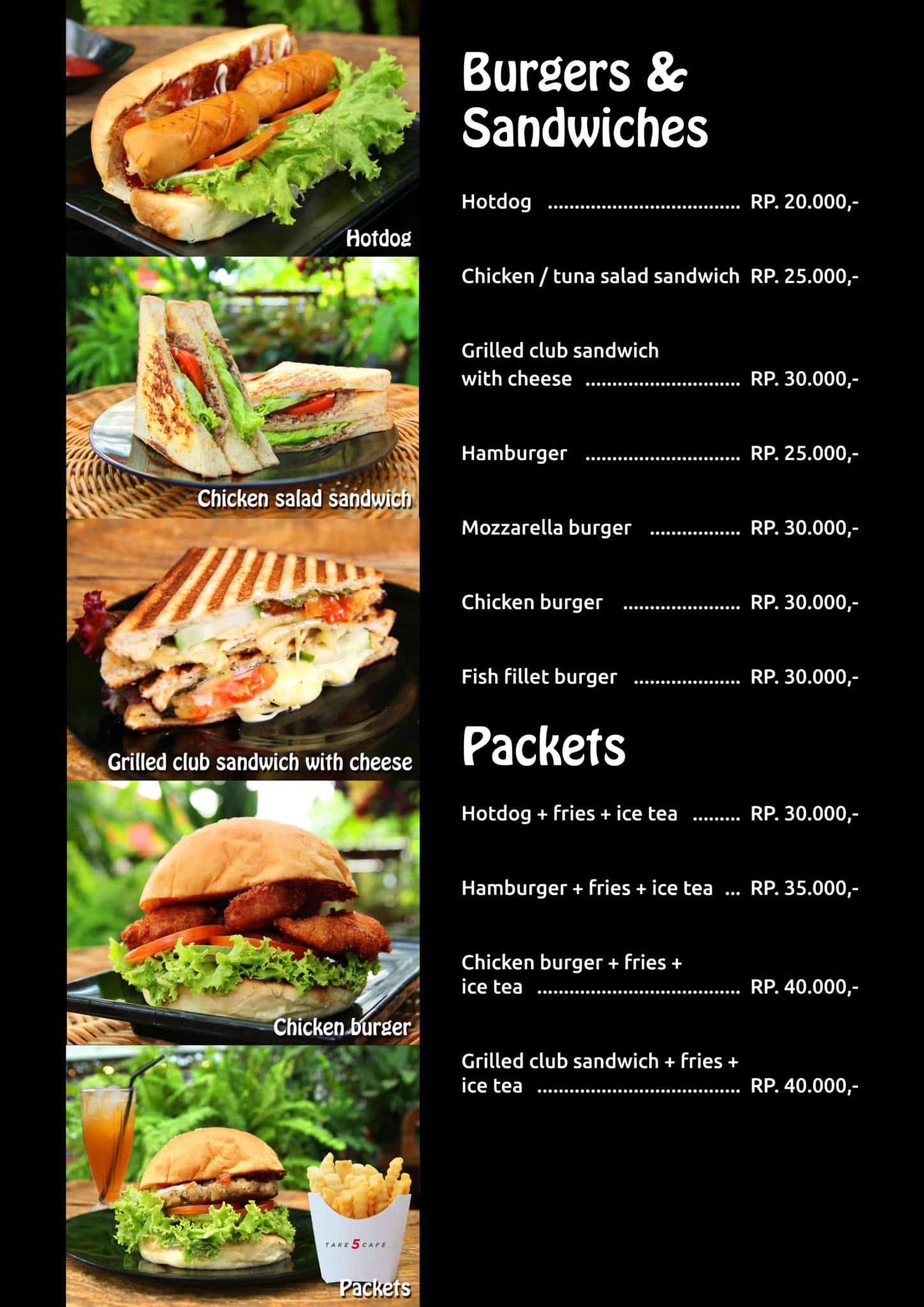 Take 5 Cafe Burgers and Sandwiches Menu